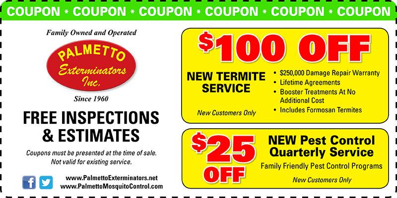 Palmetto Exterminators Discount Coupon